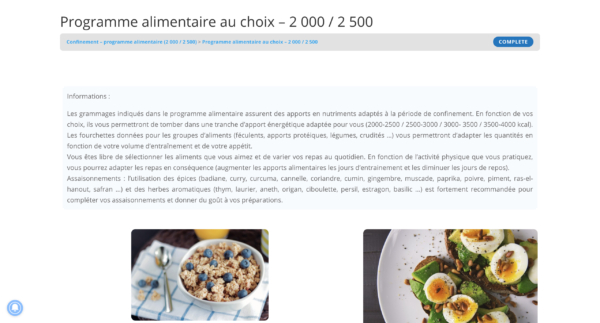 Confinement - programme alimentaire (2 000 / 2 500)